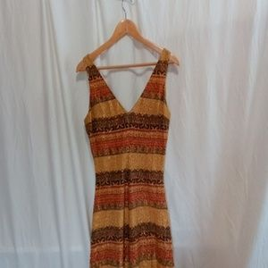 Vtg Metalic Gold Maxi Dress